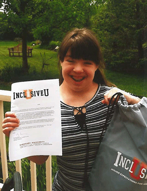 Student with her acceptance letter