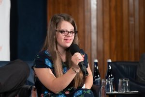 InclusiveU student Gabby speaking at Redefining Inclusion Event
