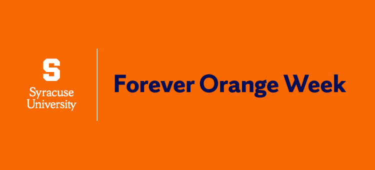 "Forever Orange Week Banner with the Syracuse University Logo and text reading ""Forever Orange Week."""
