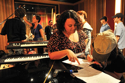 students in recording studio